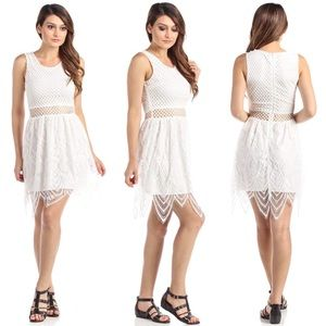 Dresses & Skirts - Open Net Midriff Lace Hem Sleeveless Dress White